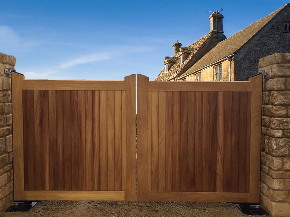 wooden driveway gates add privacy and security