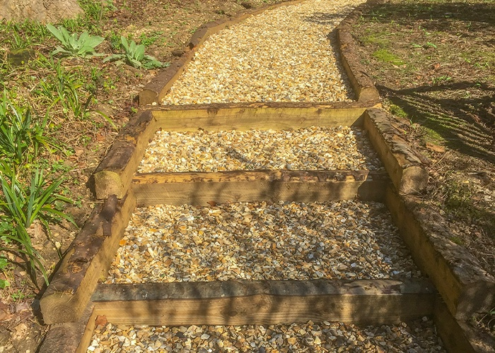 Rustic Sleeper steps and path