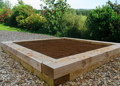 Timber sleeper raised bed