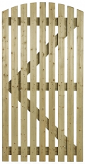Orchard Curve slatted wooden side gate