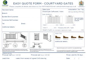 Easy quote form - Courtyard Gates