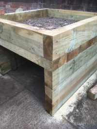 Pizza oven base using sleepers