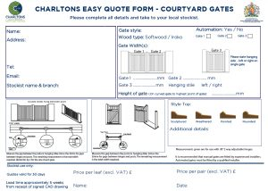 Easy quote form for courtyard driveway gates