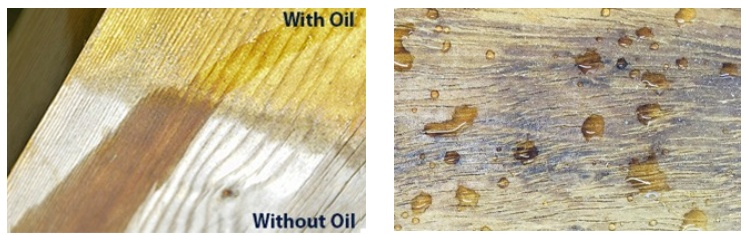 wood treated with oil vs wood not treated with oil
