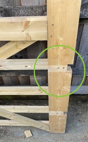 Part of hanging stile cut during fitting